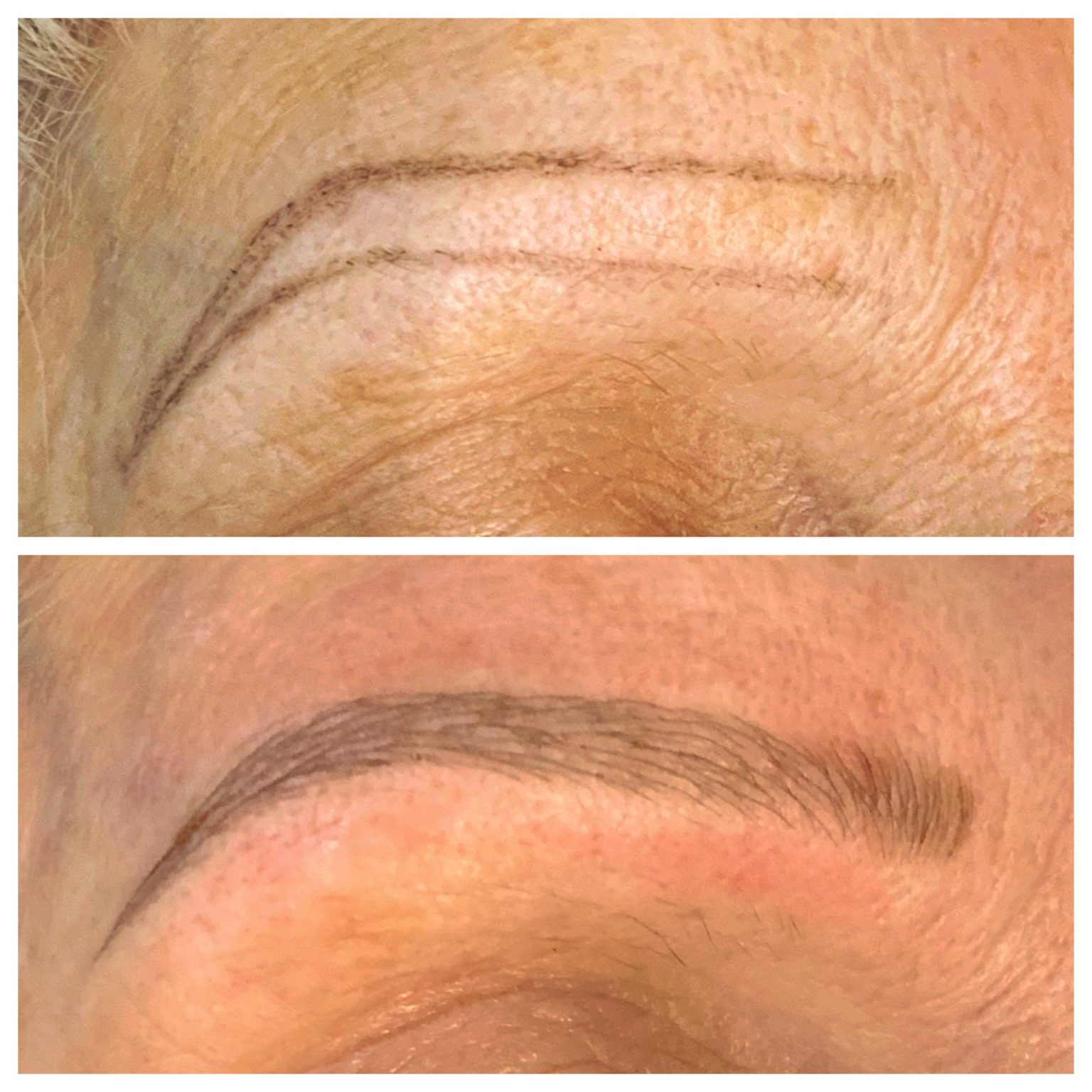 Microblading for sparce eyebrows before and after by Tina Kane Netherton